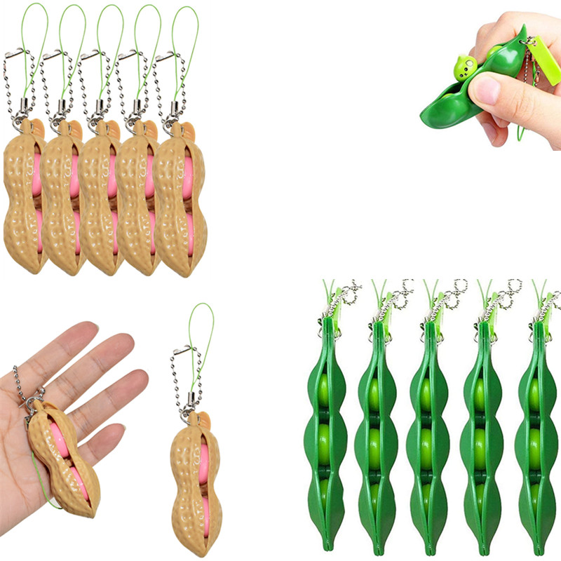 Fidget-Toy Keychain Decorations Antistress-Toys Gift Reliever Kids Squishies-Bean-Stress