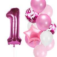 Juego de globos de cumpleaños para niña, 12 unidades por lote, globo de aluminio de 1, 2, 3, 4, 5, 6, 7, 8, 9 y 40 pulgadas para fiesta de 1er, 2ª y 3ª cumpleaños