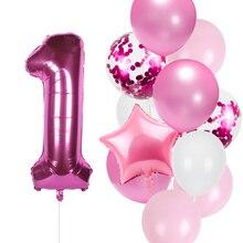 Набор воздушных шаров 12 шт./лот для дня рождения для девочек, фольгированные шары с цифрами розового цвета 1, 2, 3, 4, 5, 6, 7, 8, 9, 40 дюймов для 1-го, 2-г...