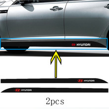 2 pçs carro emblema lateral da cintura adesivo de fibra carbono l para hyundais H-1 i20 i30 ix35 ix25 sonata 5 7 terracan tucson getz elantra