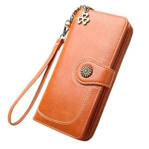 Image 5 - 2020 yeni Vintage düğme telefon çantalar kadın cüzdan bayan çanta deri marka Retro bayanlar uzun fermuar kadın cüzdan kart debriyaj