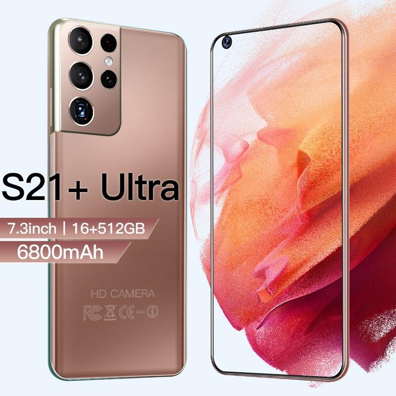 Новая версия Galay S21 + Ультра 5G 7,3 дюймовый смартфон 6800 мА/ч, разблокировать глобальная версия 24MP + 48MP 12 Гб + 512 Гб мобильные телефоны