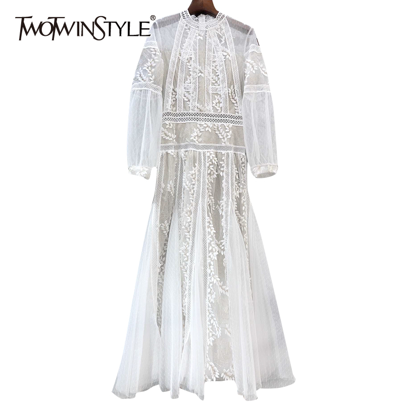 TWOTWINSTYLE Vintage Embroidery Women Dresses Stand Collar Lantern Long Sleeve High Waist Ruched Hollow Out Dress Female Fashion