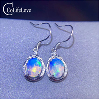CoLife Jewelry 925 Silver Opal Drop Earring for Party 7*9mm Natural White Opal Dangler Silver Gemstone Eardrop Real Opal Jewelry