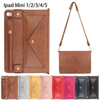Case For Apple iPad mini 5 2019 Cover pencil holder Smart leather Card slot shoulder Strap Bag for iPad mini 1 2 3 4 case 7.9