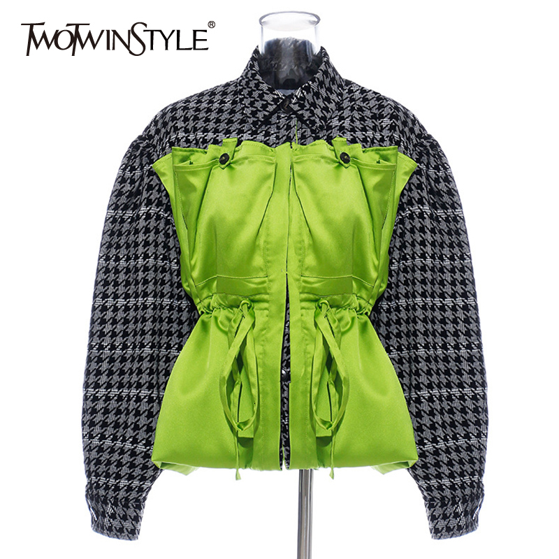 TWOTWINSTYLE Patchwork Hit Color Jacket For Women Lapel Collar Lantern Long Sleeve High Waist Drawstring Female Coat Fashion New