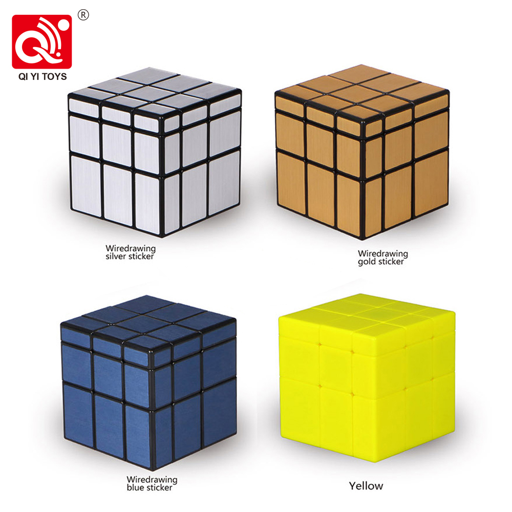Speed Cube Toys QiYi 3x3x3 Magic Mirror Cube Puzzle With Gold Silver Stickers