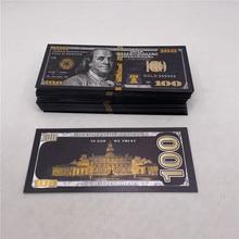 100 шт. новые поддельные набор долларовых банкнот под старину черного и золотого цвета Фольга USD 100 валюты памятная долларов банкнот Декор фал...