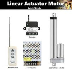 Actionneur linéaire 12V à course de 2 pouces, 4 pouces, 6 pouces, 8 pouces, 10 pouces, télécommande RF + alimentation, engrenage métallique, moteur linéaire électrique