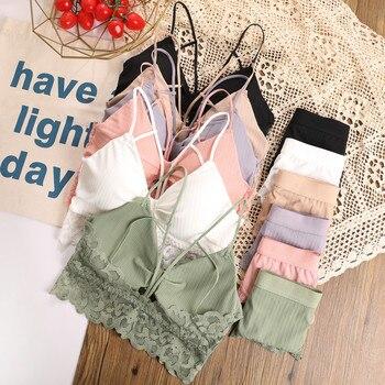 CHRLEISURE Lace Bra Set/2PCS Ladies Women Sexy Backless Underwear Set V-neck Brassiere Wireless Bralette Panties Suit