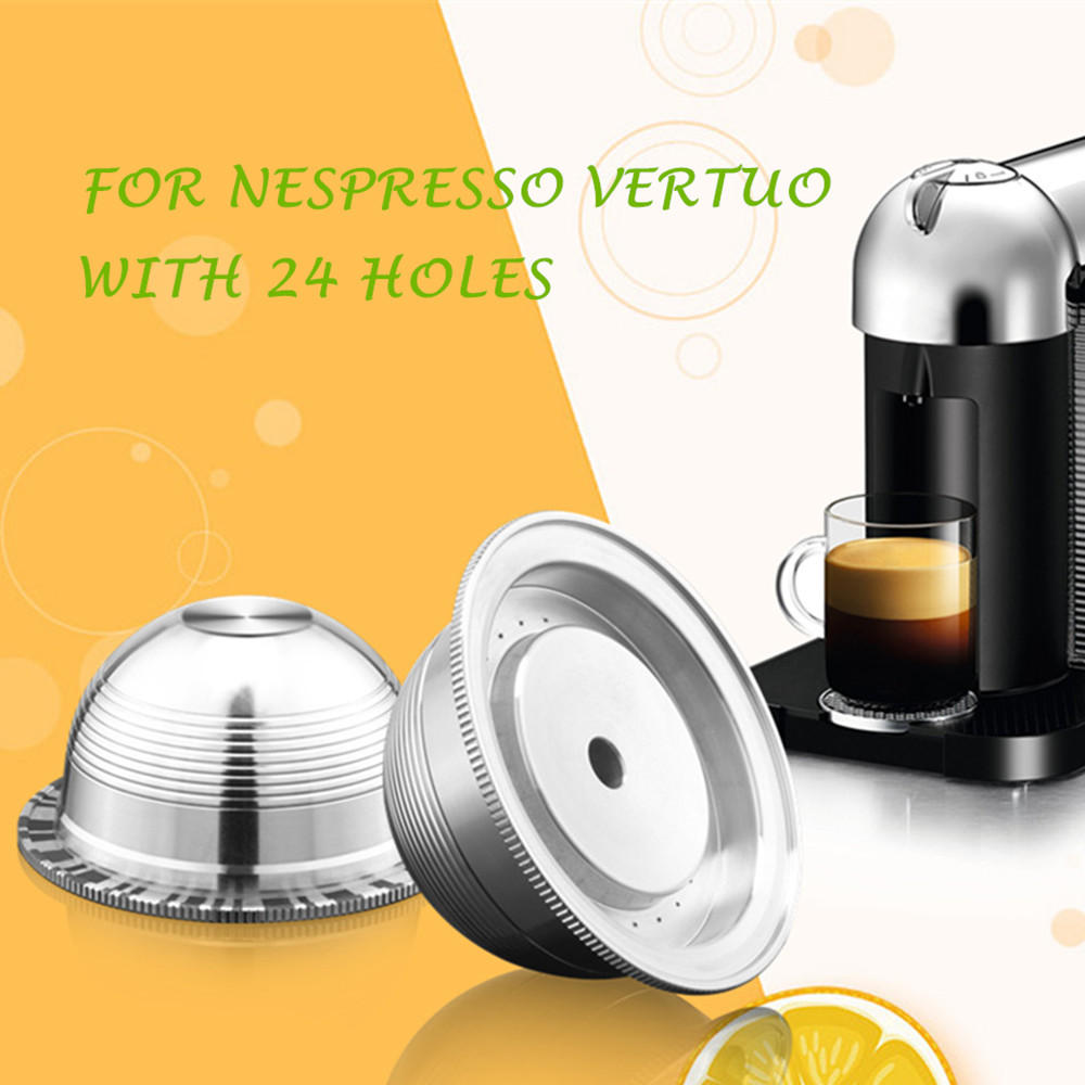 Coffee Filters For Nespresso Vertuo Vertuoline Plus & Delonghi ENV150 Stainless Steel Refillable Reusable Capsule Pod