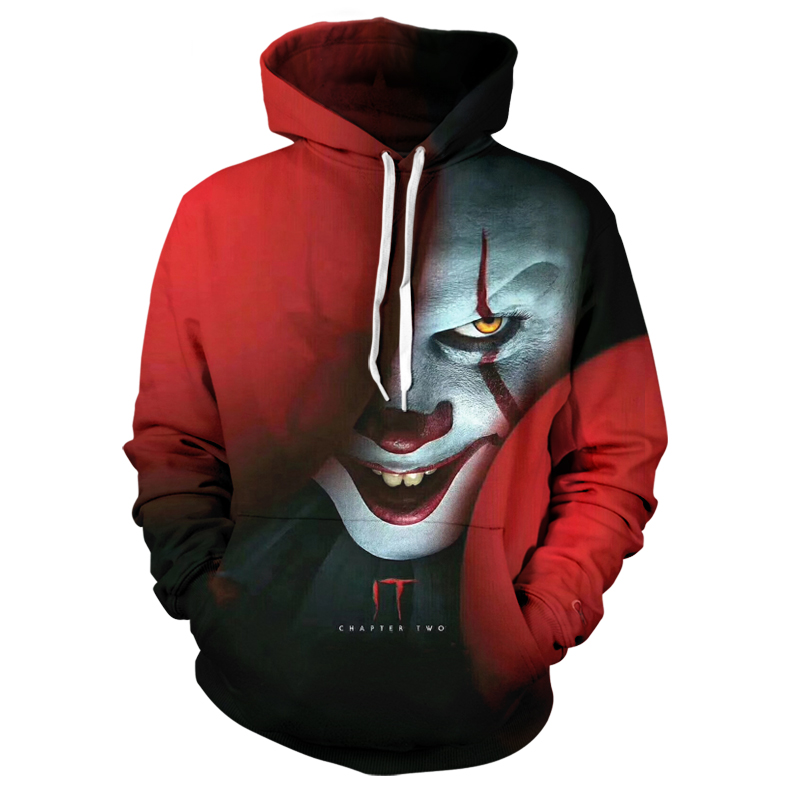 Summer New Clown IT Chapter Two 3D Printed Hoodie Sweatshirts Men Women Clown Joker Hoodie Pullover Fashion Casual IT Clown Hood