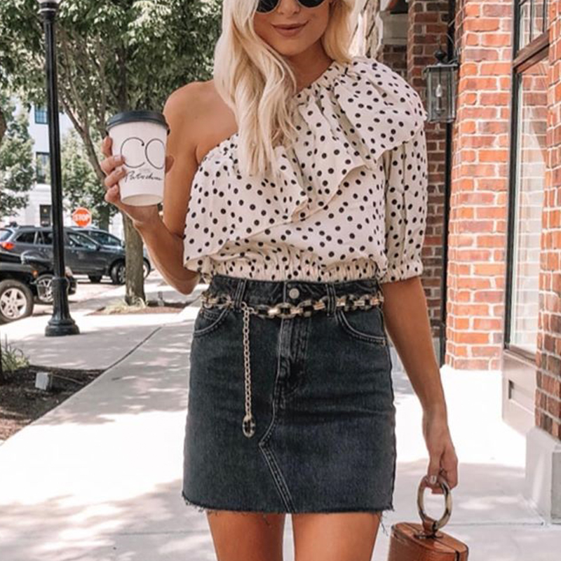 Fargeous Sexy Skew Collar Ruffle Short Blouse Women 2020 Summer Spring Polka Dot Midi Sleeve Crop Tops Ladies Chiffon Shirt
