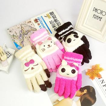 Damskie zimowe ciepłe śliczne rysunek przedstawiający pandę kot królik rękawiczki robione na drutach dziewczyna kobiety moda koralowe polarowe pełne rękawiczki mitenki Touch tanie i dobre opinie Dzieci CN (pochodzenie) WOMEN CASHMERE Koral polar Cartoon Nadgarstek Gloves gloves for women