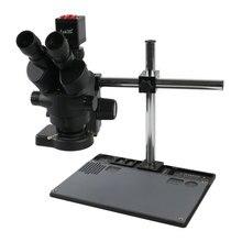 Suporte de bancada de alumínio para trabalho, microscópio estéreo simul focal de 7x 45x, microscópio 1080p hdmi vga, câmera de vídeo digital eletrônica