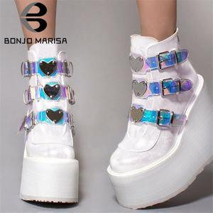 BONJOMARISA/Прямая поставка; Лидер продаж; Брендовые ботильоны на высокой платформе для женщин; Модная женская обувь на высокой танкетке с ремешк...