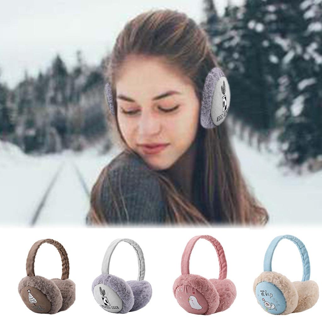 Women Foldable Winter Earmuffs Winter Hamburger Ear Warmer Plush