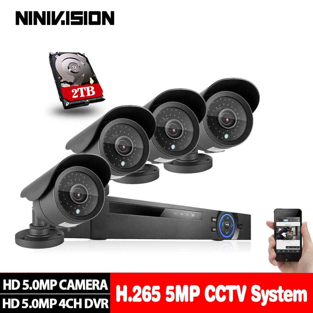 Security Camera System 4ch CCTV System DVR Security System 4CH 2TB 4 x 5.0MP Security Camera 5.0mp Camera DIY Kits
