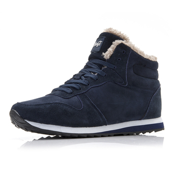 2019 Men Casual Shoes Winter Warm Boots Cotton Plush Snow Boots New Arrival Flock Lace Up Man Footwear