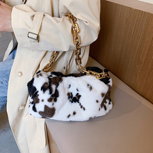 Shoulder-Bags Cow-Pattern Trending Quality Women Branded Soft for Winter Thick Chain