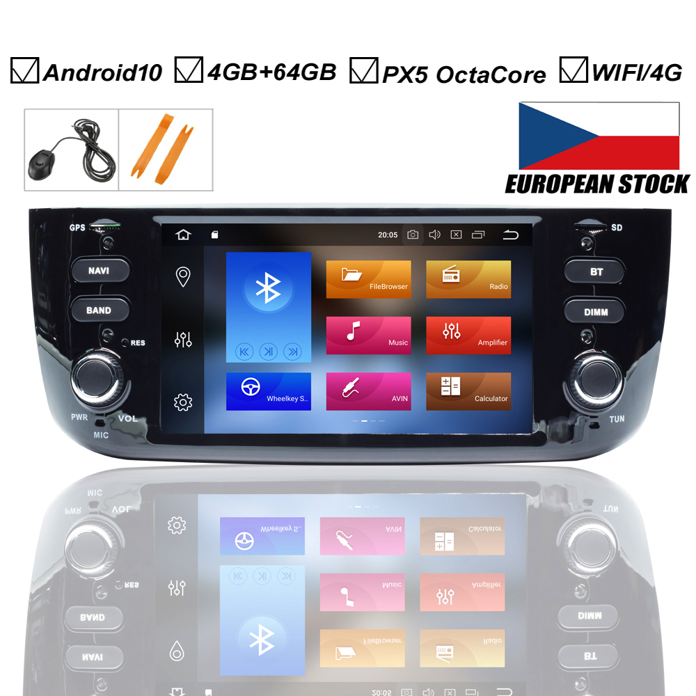 Car Android 10.0 DVD GPS Player For FIAT LINEA PUNTO EVO Auto Radio Stereo BT Wifi Octa Core Mirror Link 4GB+64GB MAP DVR DAB+