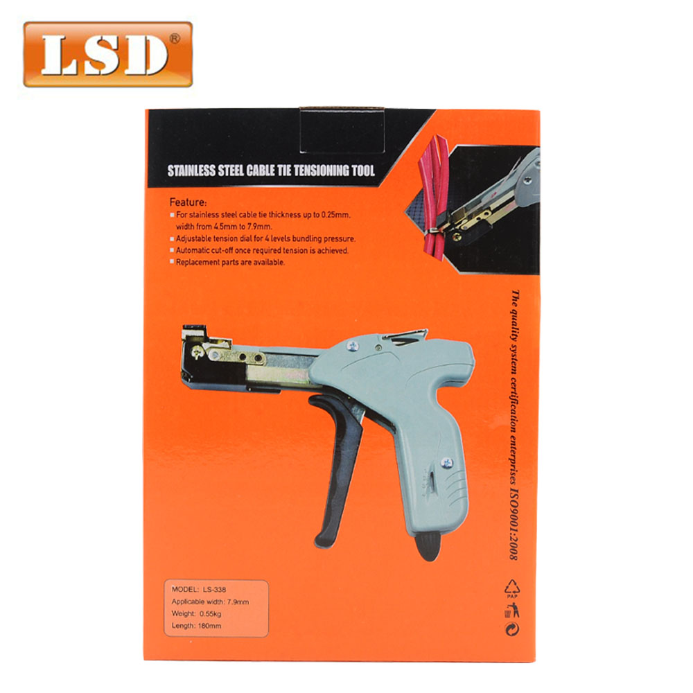 Купить с кэшбэком LS-338 fastening and cutting 2 in 1 cable tie gun for 2.4-4.8 stainless steel cable tie gun