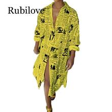 Rubilove Casual Printed T Shirt Dress Women White Long Sleeve Front Split Party Yellow Collar Buttons