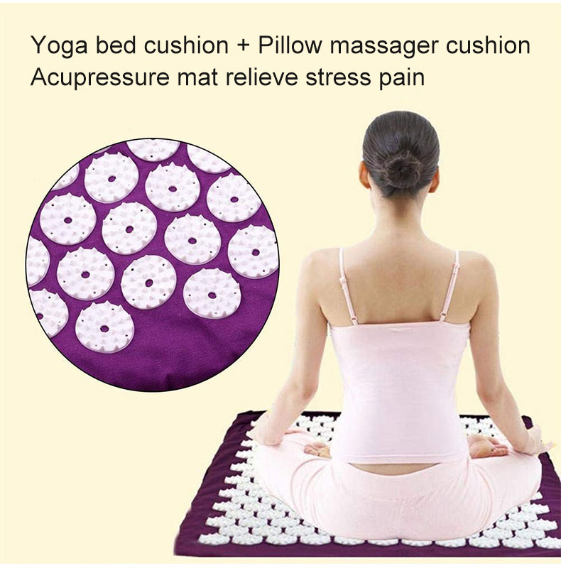Non-Slip Acupressure Cushion Massage Mat Body Pain Spike Fitness Pilates Exercise Pillow Yoga Mat Gift Bag Applicator 15