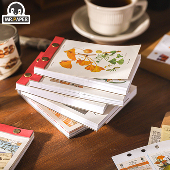 Mr.paper 8style 92pcs/368pcs Medieval Material Paper Retro Journaling Bullet Junk Scrapbooking Label Fresh Words LOMO Cards