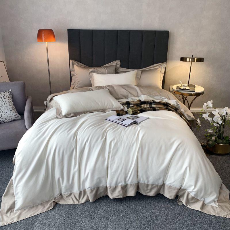 Grey White Duvet Cover Simple Style Patchwork King Queen Size 4Pcs Egyptian Cotton Bedding Set With Zipper Bed Sheet Pillowcase