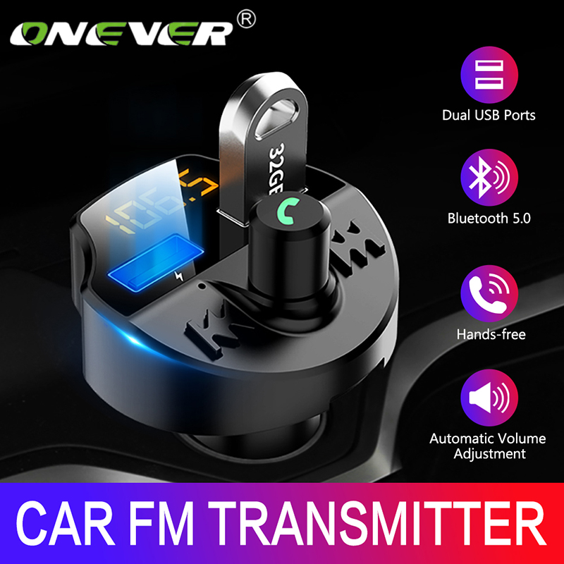 Onever <font><b>Fm</b></font> <font><b>transmitter</b></font> <font><b>Bluetooth</b></font> 5.0 <font><b>Car</b></font> <font><b>Mp3</b></font> Player <font><b>Adapter</b></font> Battery Voltage Noise Reduction TF Card hands-free Dual USB <font><b>Charger</b></font> image