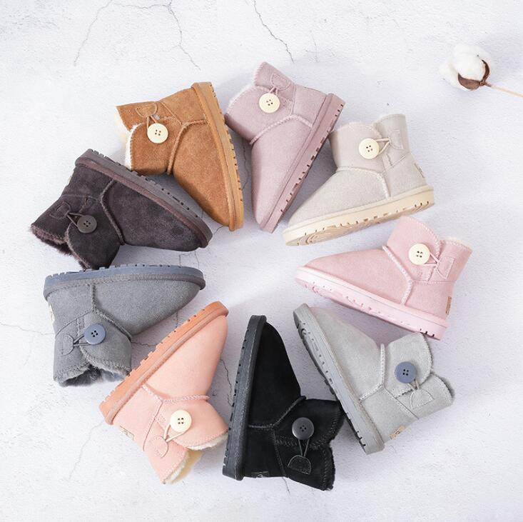 Fashion Baby Winter Shoes Brand Genuine Leather Fur Toddler Boy Girl Ankle Boot Kids Plush Snow Boots