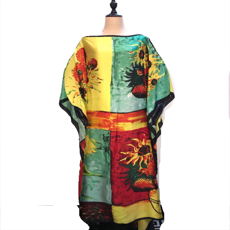 Length : 132 Cm Bustline 132 Cm New Printed Thailand Holiday Silk Kaftan Dresses Elegant Dinner Maxi Dresses African Clothes