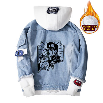 JoJo's Bizarre Adventure hoodie cosplay coat Denim jacket for men winter women Jeans Outerwear casual warm Loose sweatshirt