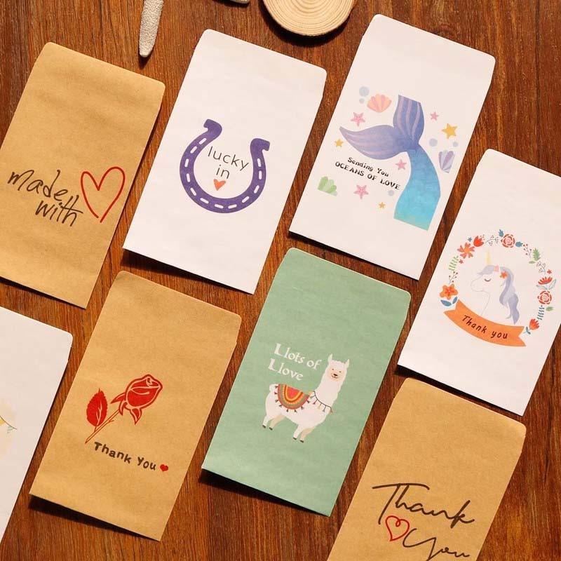 10pcs Creative Invitation Kraft Envelope Unicorn Mermaid Cartoon Paper Envelope Retro Rose Stationery Office Supplies 7.3x12.5cm