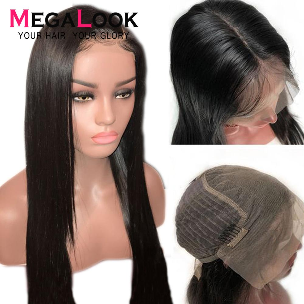 Megalook 13X6 Lace Front Human Hair Wigs 180% Density Straight Remy Human Hair Lace Front Wig Preplucked With Baby Hair