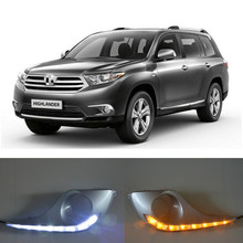 цена на Car Flashing 1 Set 12V For Toyota Highlander 2012 2013 2014 LED DRL Daytime Running Lights Daylight Waterproof Fog Lamp Cover