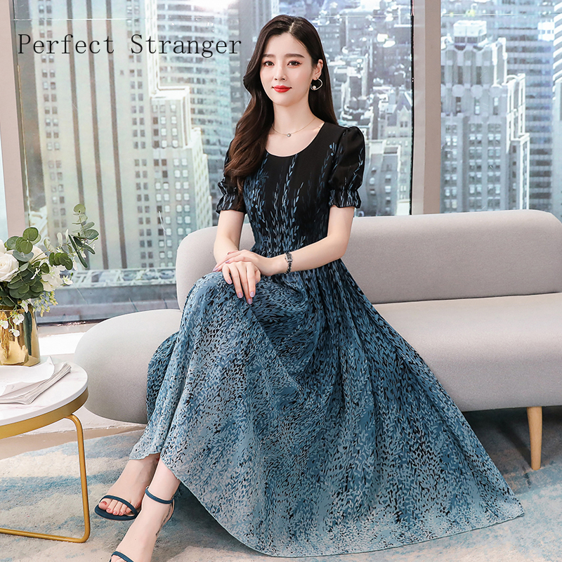 2020 New Arrival High Quality Round Collar Short Sleeve Printed Chiffon Women Long Dress Plus Size