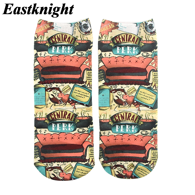 K1287 1 Pairs Friends Tv Casual Socks Invisible Autumn Socks Short Low Cut No Show Socks Cotton Funny Happy Boat Socks