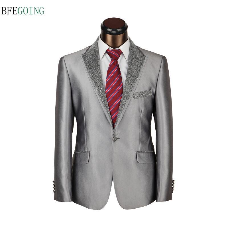 Серый обычный плоский однобортный свадебный смокинг жениха костюм невесты брюки+ галстук на заказ