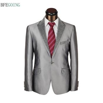Szary regularne płaskie pojedyncze piersi ślubne smokingi dla pana młodego panny młodej garnitur spodnie + krawat wykonane na zamówienie tanie i dobre opinie BFEGOING Poliester Mieszkanie Custom made Zipper fly Groom wear Satin