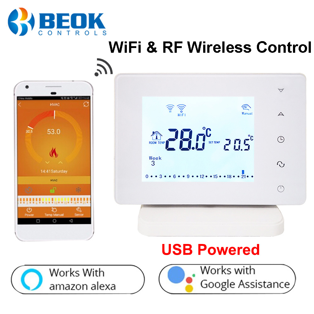 Beok 306 RF Wireless & Wifi Smart Thermostat Temperature Controller For Gas Boiler Works With Alexa Google Home