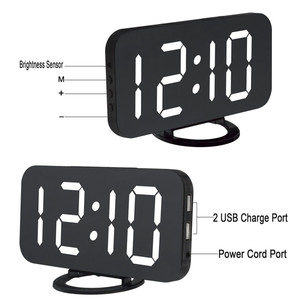 Image 4 - LED Alarm Clock Mirror Digital Clock Snooze Time Temperature Night Display Reloj Despertador 2 USB Output Ports Table Clock
