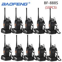 10 adet Baofeng BF 888S Walkie Talkie 888s 5W 16 kanal 400 470MHz UHF FM alıcı iki yönlü radyo Comunicador açık yarış