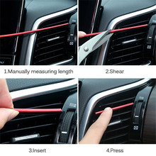купить Car-styling plating Air outlet trim strip Interior Air Vent Grille Switch Rim Trim Outlet Decoration Strip DIY automotivo дешево