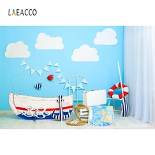 Laeacco Children Room Sky Cloud Ship Seaside Fish Photography Backgrounds Customized Photographic Backdrops for Photo Studio