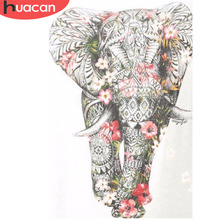 HUACAN 5D DIY Diamond Painting Elephant Mosaic Picture Of Rhinestones Flower Embroidery Cross Stitch Home Decor