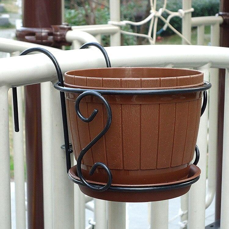 Hanging Flower Pot Stand Rack Deck Rail Balcony Fence Planter Flower Pot Railing Shelf Flower Pots Holder