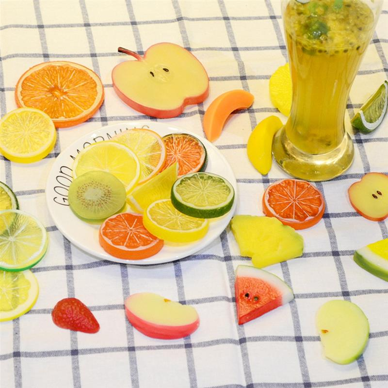1pc Lifelike Artificial Fruit Creative Lemon Kiwi Fake Fruit Slice Plastic Fruit Photography Props Home Decor Accessories
