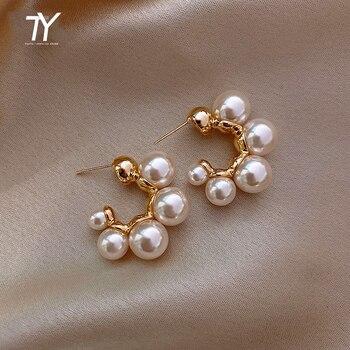 Elegant Celebrity Metal Inlaid Pearl Earrings For Woman Fashion Jewelry 2020 New Luxury Wedding Party Girl's Unusual Earrings 1
